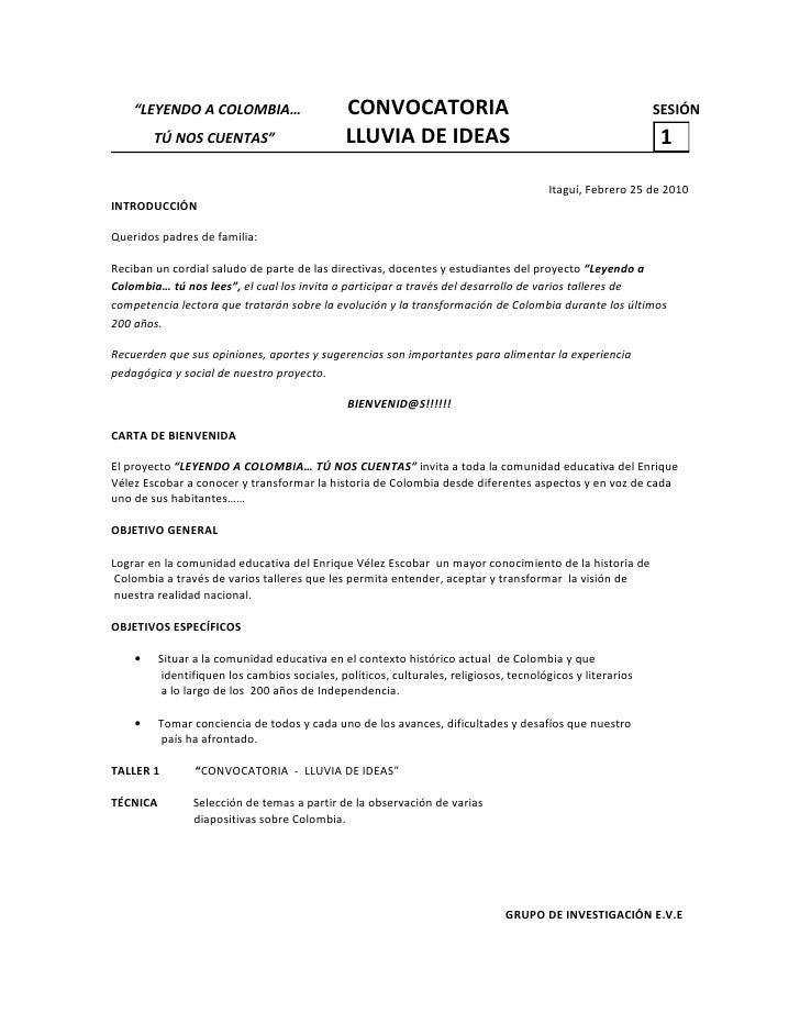 """""""LEYENDO A COLOMBIA…                       CONVOCATORIA                                                 SESIÓN         TÚ ..."""