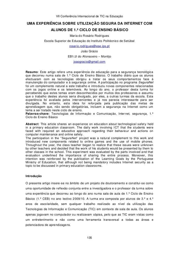 VII Conferência Internacional de TIC na EducaçãoUMA EXPERIÊNCIA SOBRE UTILIZAÇÃO SEGURA DA INTERNET COM                 AL...