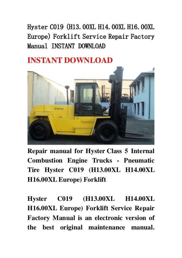 Hyster Forklift Manual H330xl