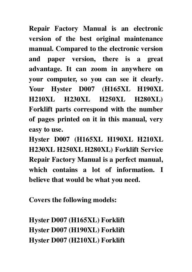 hyster d007 h165xl h190xl h210xl h230xl h250xl h280xl forklift service repair factory manual instant download