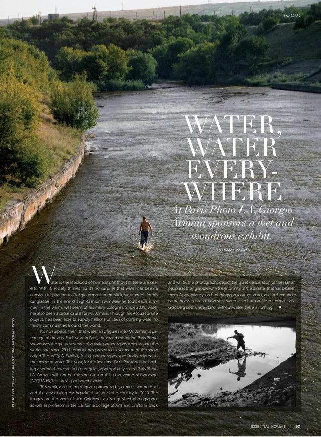 Water is the lifeblood of humanity. Without it, there are des- erts. With it, society thrives. So it's no surprise that wa...