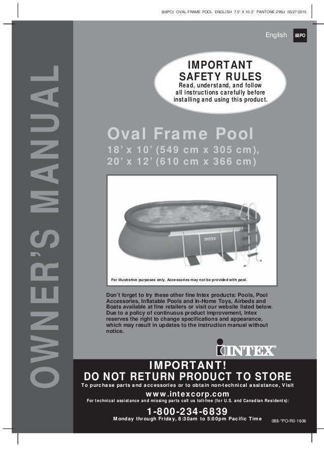 Intex oval swimming pool Manual for 18\' x 10\' and 20\' x 12 ...