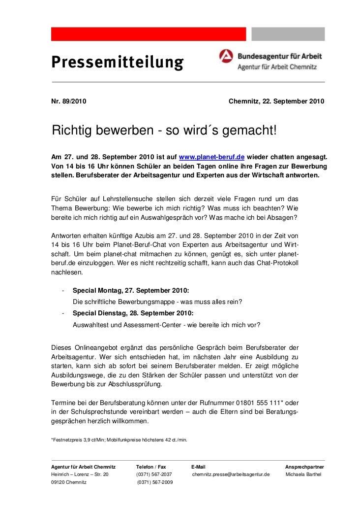 PressemitteilungNr. 89/2010                                                                       Chemnitz, 22. September ...