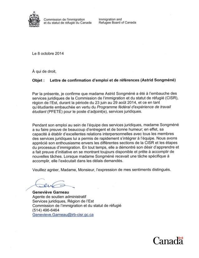 lettre de confirmation d u0026 39 emploi et de r u00c3 u00a9f u00c3 u00a9rences  astrid