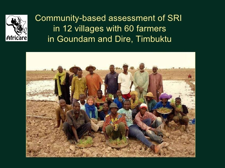 Community-based assessment of SRI  in 12 villages with 60 farmers in Goundam and Dire, Timbuktu