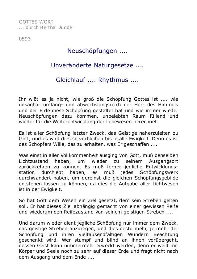 GOTTES WORT ... durch Bertha Dudde 0893 Neuschöpfungen .... Unveränderte Naturgesetze .... Gleichlauf .... Rhythmus .... I...