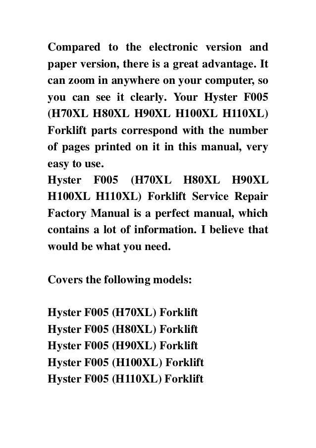 hyster f005 h70xl h80xl h90xl h100xl h110xl forklift service repair rh slideshare net Hyster H80XL Fork Lift Service Manual Hyster H80XL Paint Schemes