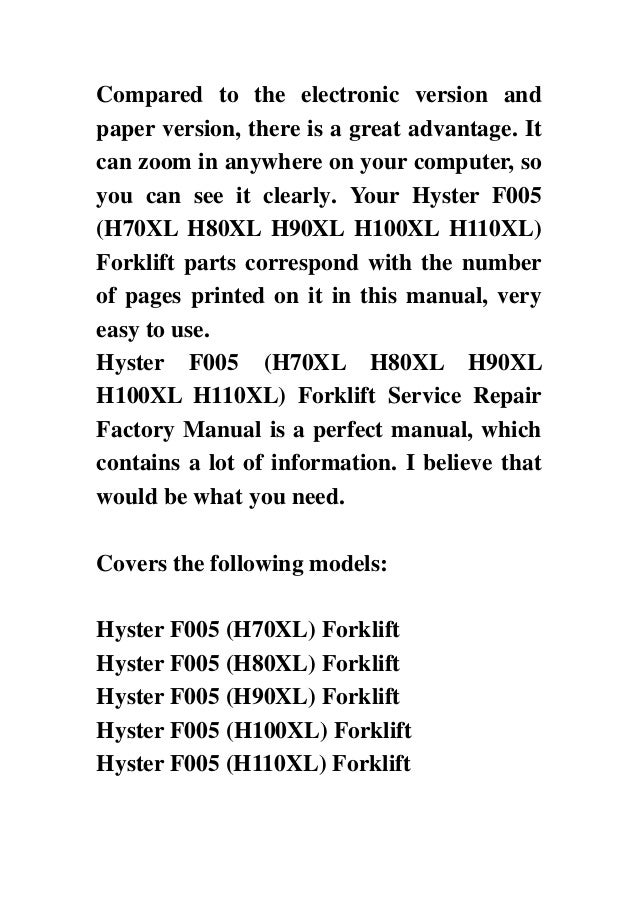 Hyster F005 (H70XL H80XL H90XL H100XL H110XL) Forklift