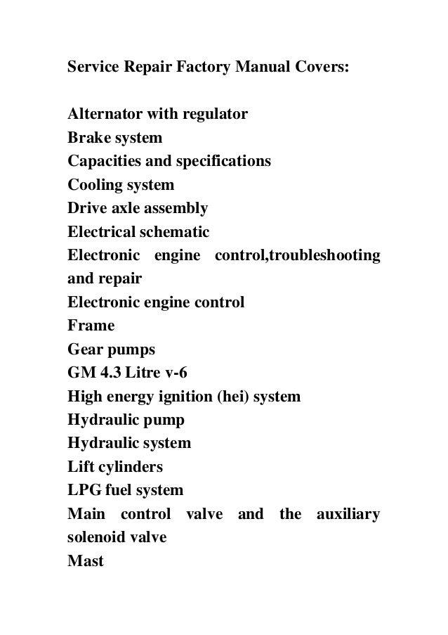 hyster f005 h70xl h80xl h90xl h100xl h110xl forklift service repair forklift 3 service repair factory manual