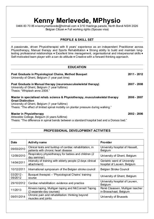Resume Physio Kenny Nov 2016
