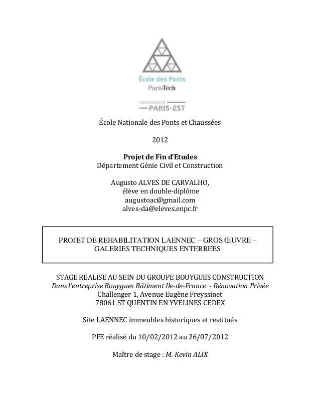 École Nationale des Ponts et Chaussées 2012 Projet de Fin d'Etudes Département Génie Civil et Construction Augusto ALVES D...