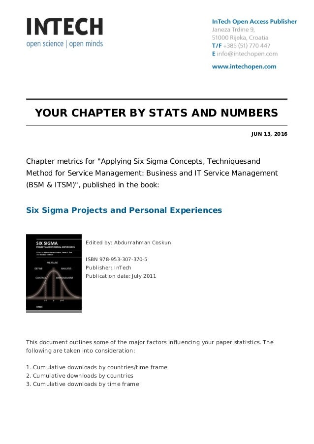 """YOUR CHAPTER BY STATS AND NUMBERS JUN 13, 2016 Chapter metrics for """"Applying Six Sigma Concepts, Techniquesand Method for ..."""