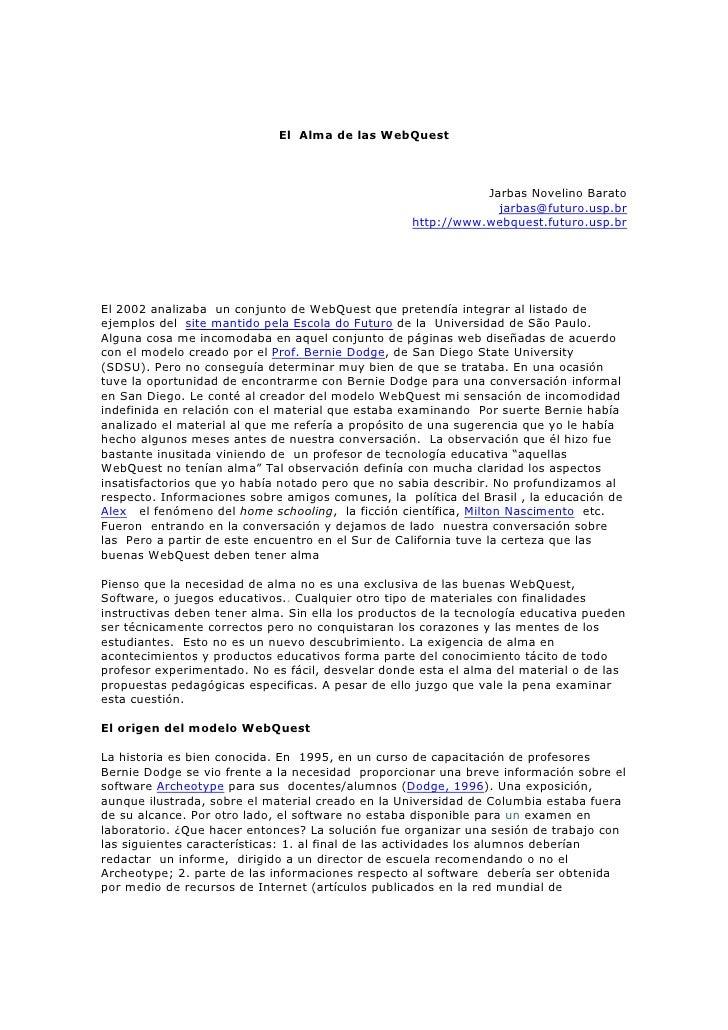 El Alma de las WebQuest                                                                  Jarbas Novelino Barato           ...