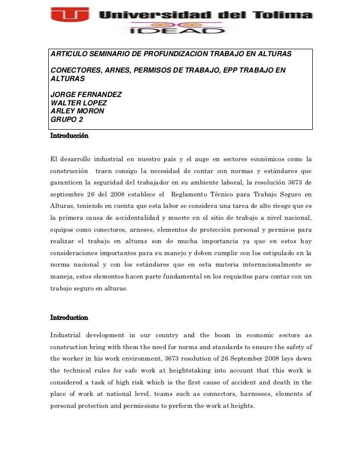 ARTICULO SEMINARIO DE PROFUNDIZACION TRABAJO EN ALTURASCONECTORES, ARNES, PERMISOS DE TRABAJO, EPP TRABAJO ENALTURASJORGE ...