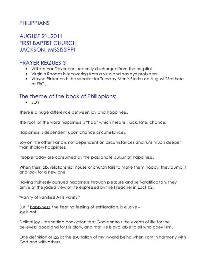 PHILIPPIANSAUGUST 21, 2011FIRST BAPTIST CHURCHJACKSON, MISSISSIPPIPRAYER REQUESTS   •   William VanDevender - recently dis...