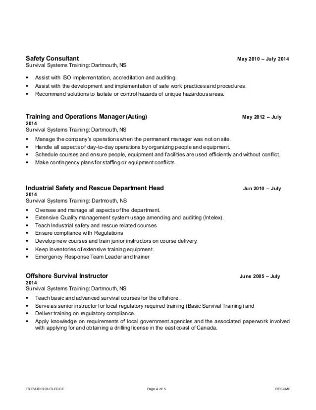 trevor routledge crsp resume