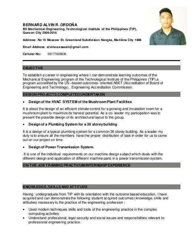 Sample Resume For Ojt Engineering Students 524501 Ojt Resume 24