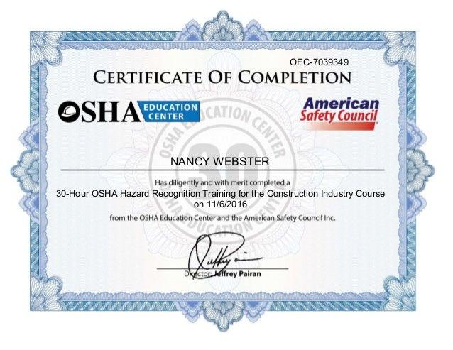 Kw Njw Osha Certification