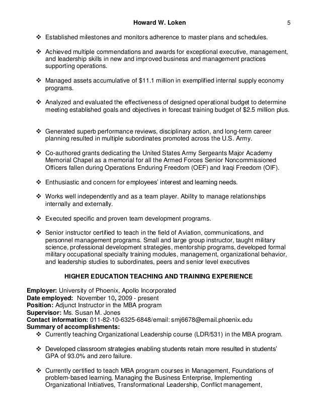 higher education resume examples