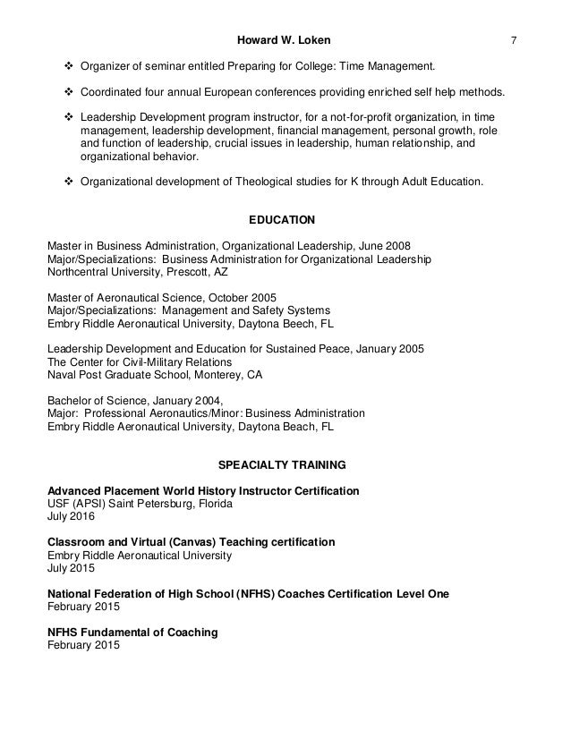 howard loken s adjunct assistant professor resume 2016