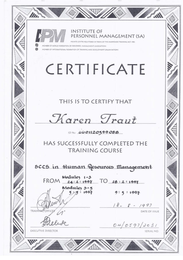 cv certificates k da luz