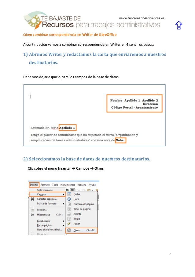 Cómo combinar correspondencia en writer de libreoffice Slide 3