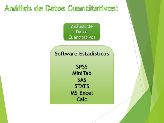 Análisis de Datos Cuantitativos Software Estadísticos SPSS MiniTab SAS STATS MS Excel Calc