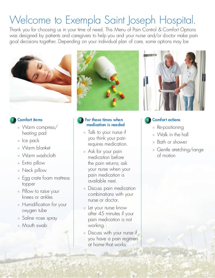 Exempla St Joseph Hospital Pain And Comfort Menu