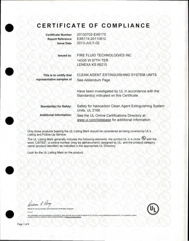 Ul Certificate Of Compliance Fft For Listed Systems