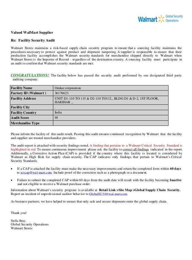 facility name omkar corporation factory id walmart 36176623 facility address unit d1 110