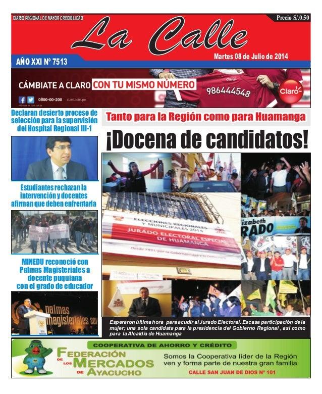 La CalleAÑO XXI Nº 7513 Martes 08 de Julio de 2014 Estudiantes rechazan la intervención y docentes afirman que deben enfre...