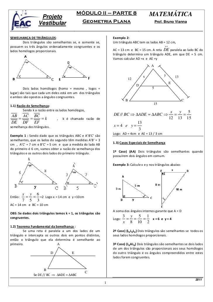 MÓDULO II – PARTE 8                            MATEMÁTICA                   Projeto                  Vestibular           ...