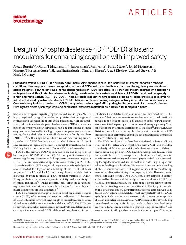 nature biotechnology volume 28 number 1 january 2010 63 A rt i c l e s Spatial and temporal signaling by the second me...