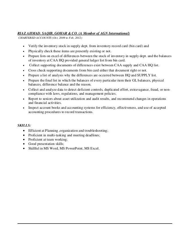 RIAZ AHMAD. SAQIB, GOHAR & CO. (A Member of AGN International) CHARTERED ACCOUNTS (Oct, 2009 to Feb, 2012)  Verify the in...