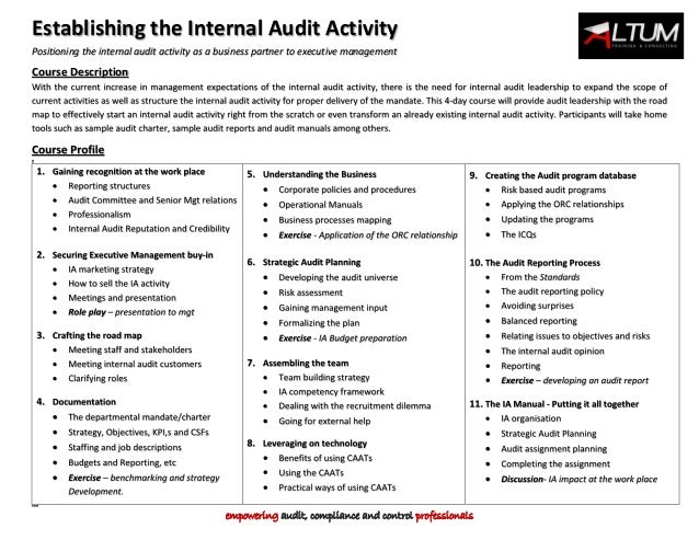 establishing an internal audit department the Establishing an internal audit presence  to build a traditional internal audit department (and the associated cost that typically comes along with it.