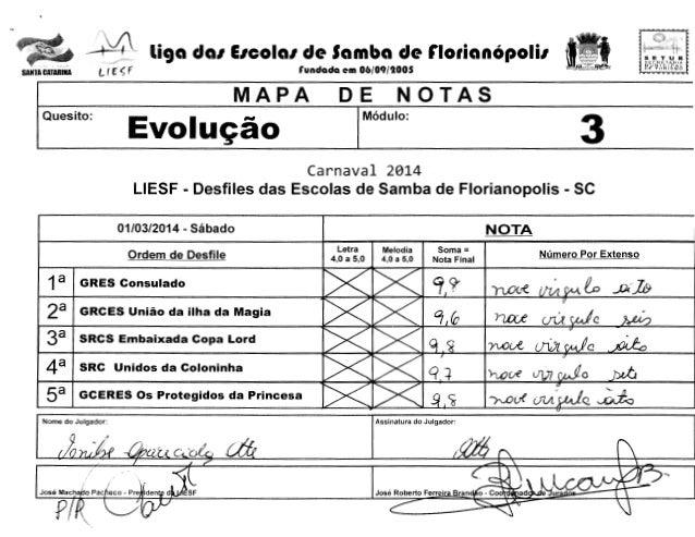 """- ~..4. SANTA CATARINA  liga da1 E1cola1 de Samba de florianOpoli1  lf ("""" ~ f  ~>i.'.:CRf::  Evoluc;ao  DE  i""""""""'llJ  NOTAS..."""