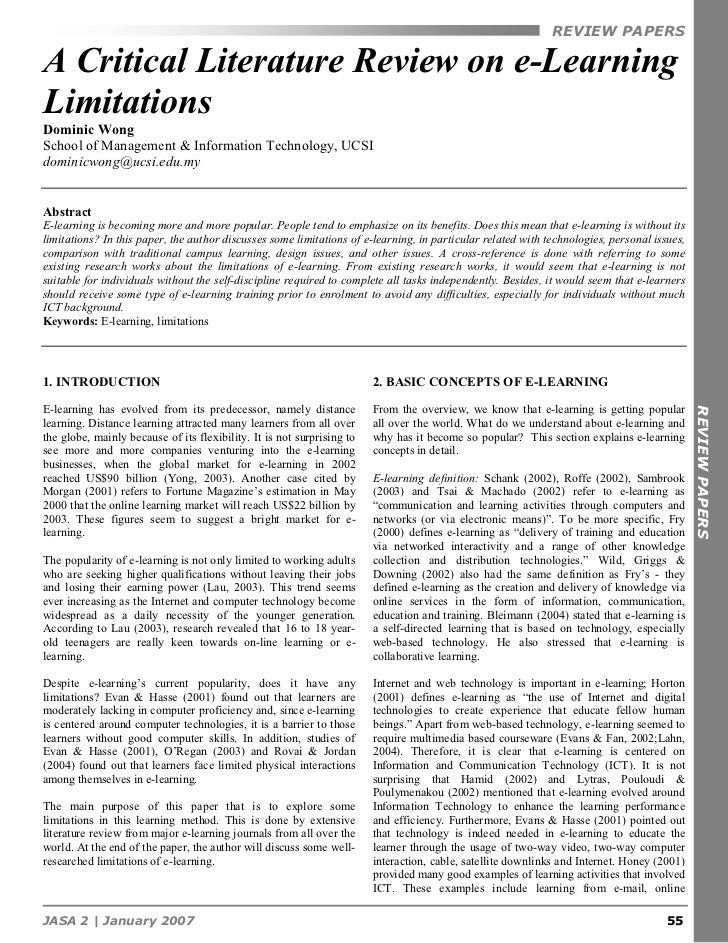 REVIEW PAPERSA Critical Literature Review on e-LearningLimitationsDominic WongSchool of Management & Information Technolog...