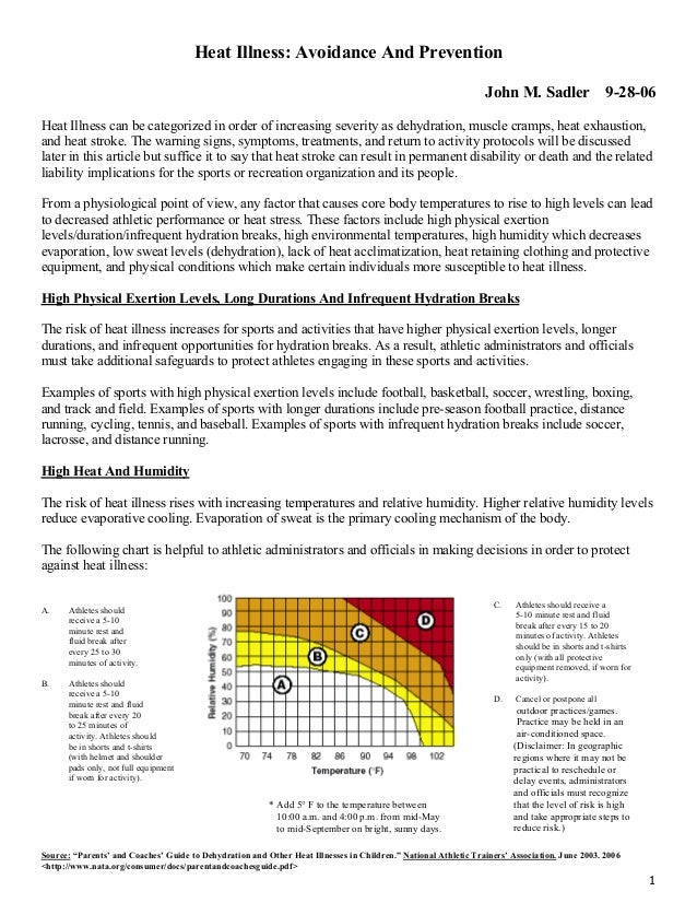 Heat Illness: Avoidance And Prevention John M. Sadler  9-28-06  Heat Illness can be categorized in order of increasing sev...