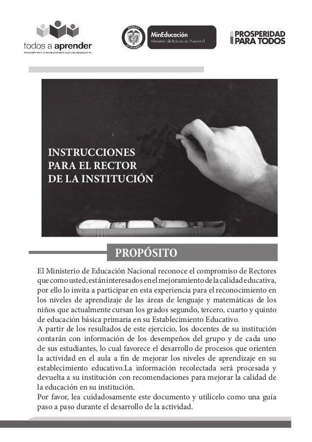 INSTRUCCIONESPARA EL RECTORDE LA INSTITUCIÓNPROPÓSITOEl Ministerio de Educación Nacional reconoce el compromiso de Rectore...