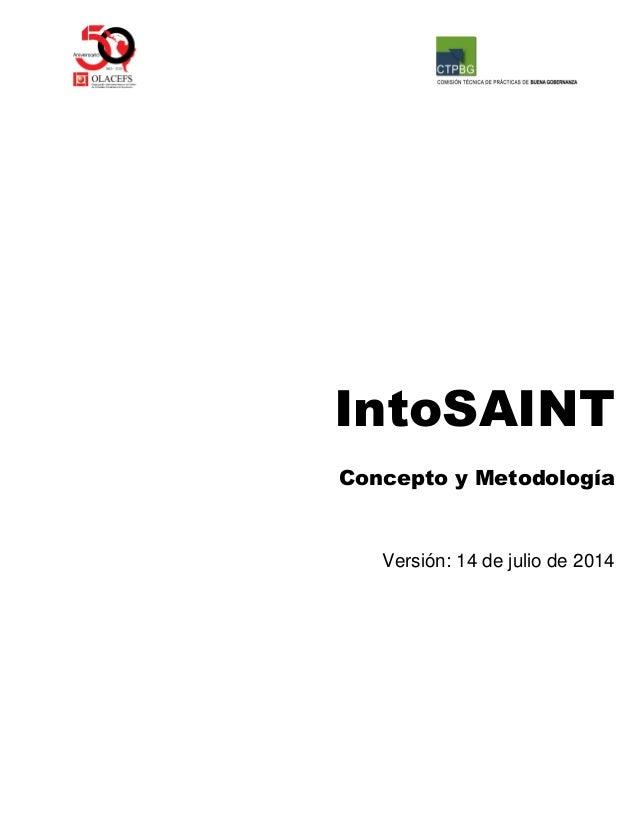 IntoSAINT  Concepto y Metodología  Versión: 14 de julio de 2014