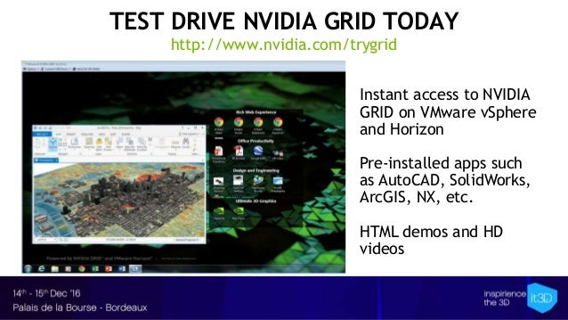 TEST DRIVE NVIDIA GRID TODAY http://www.nvidia.com/trygrid Instant access to NVIDIA GRID on VMware vSphere and Horizon Pre...