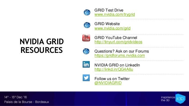 NVIDIA GRID RESOURCES GRID Test Drive www.nvidia.com/trygrid GRID Website www.nvidia.com/grid GRID YouTube Channel http://...