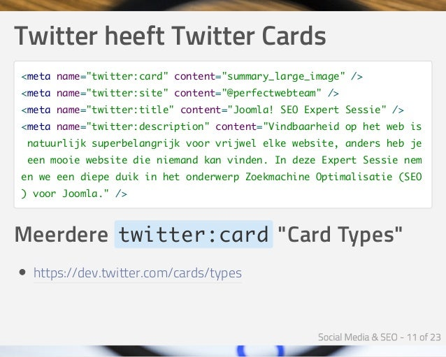 """TwitterheeftTwitterCards <meta name=""""twitter:card"""" content=""""summary_large_image"""" /> <meta name=""""twitter:site"""" content=""""..."""
