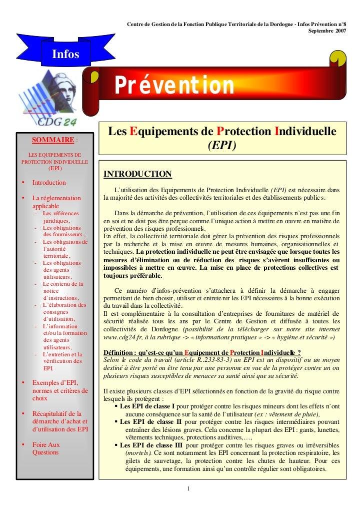 Centre de Gestion de la Fonction Publique Territoriale de la Dordogne - Infos Prévention n°8                              ...