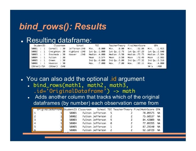 bind_rows(): Results ! Resulting dataframe: ! You can also add the optional .id argument ! bind_rows(math1, math2, math3, ...