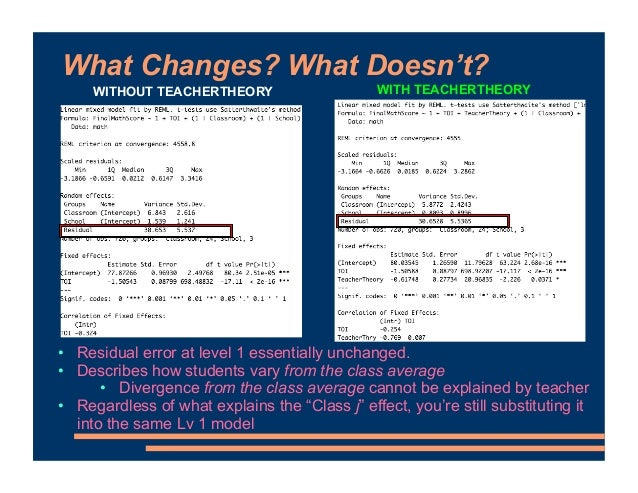 What Changes? What Doesn't? • Residual error at level 1 essentially unchanged. • Describes how students vary from the clas...