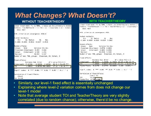 What Changes? What Doesn't? • Similarly, our level-1 fixed effect is essentially unchanged • Explaining where level-2 vari...