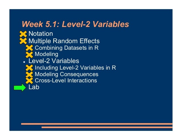 Week 5.1: Level-2 Variables ! Notation ! Multiple Random Effects ! Combining Datasets in R ! Modeling ! Level-2 Variables ...