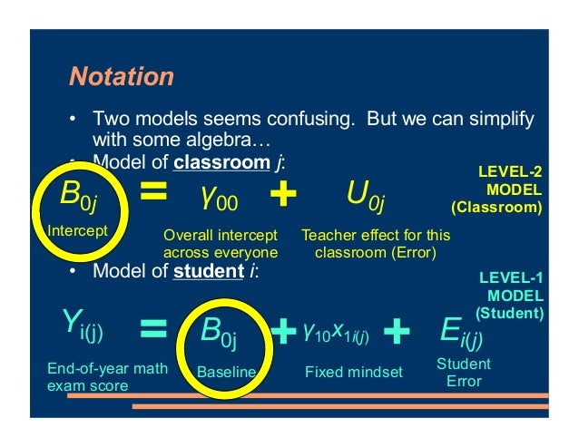 Notation • Two models seems confusing. But we can simplify with some algebra… • Model of classroom j: • Model of student i...