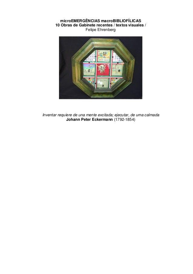 microEMERGÊNCIAS macroBIBLIOFÍLICAS       10 Obras de Gabinete recentes / textos visuales /                      Felipe Eh...